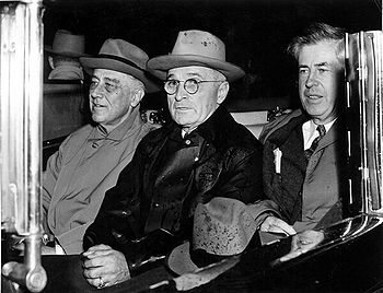 President Roosevelt, Vice President-elect Truman and Vice President Wallace, November 10, 1944, after the Democratic ticket's election victory.