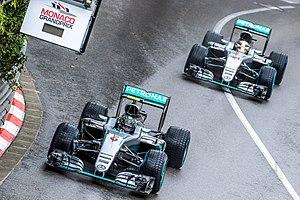 Mercedes F1 W07 Hybrid - Mercedes's duo battling during the 2016 Monaco Grand Prix.