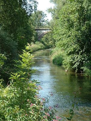 Laupheim - River Rottum in Laupheim with railway bridge in the background