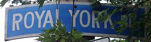 Royal York Road - A sign for Royal York Road in Mimico, near its southern terminus.