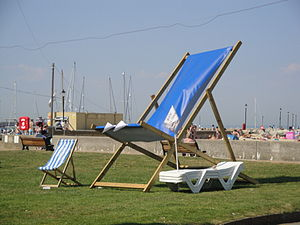 A large promotional deckchair on the Western E...