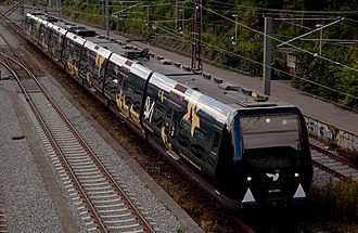 B (S-train) - An advertisement train at Østerport station