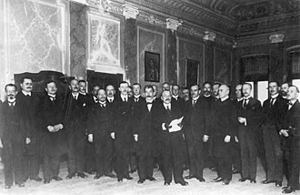 Kingdom of Yugoslavia - Delegation of the National Council of the  State of Slovenes, Croats and Serbs lead by dr Ante Pavelić reading the address in front of regent Alexander, 1 December 1918