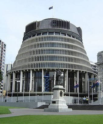 "The ""Beehive"" is the seat of the New Zealand Government SIF-Beehive-3-Cropped.jpg"