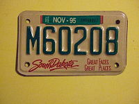 SOUTH DAKOTA 1995 -MOTORCYCLE PLATE ^M60208 - Flickr - woody1778a.jpg