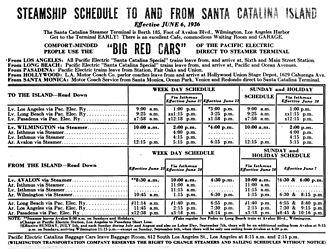 SS Catalina - 1936 schedule for daily steamer service to Santa Catalina Island via Catalina, Avalon, and Cabrillo