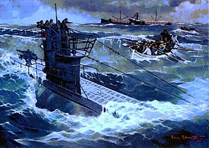 German submarine U-99 (1940) - Painting of Estonian merchant ship SS Merisaar's lifeboat approaching German submarine U-99 in July 1940
