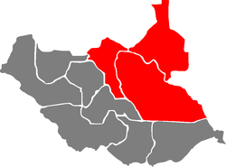 Location in South Sudan.