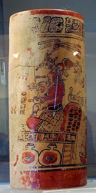 Maya ceramics - Painted Classic Period vase from Sacul in Guatemala