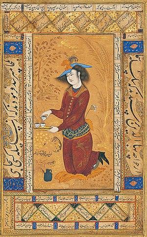 Persian miniature - Saki, album miniature by Reza Abbasi, 1609