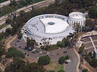 San Diego Air & Space Museum - The San Diego Air and Space Museum as seen from overhead in 2013.