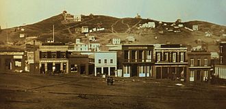 Barbary Coast, San Francisco - Portsmouth Square, looking north to Telegraph Hill, 1851.