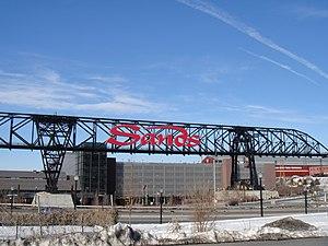 Sands Casino Resort Bethlehem - The Sands Casino sign over the old ore crane of Bethlehem Steel.