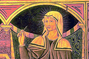 Rita of Cascia - Patron Saint of the Impossible, abused wives and widows (note the accurate portrayal of her Medieval religious habit, brown and white veil with brown ribbon borders. She is holding a thorn from the crown of Christ that pierced her forehead as a sign of penance.)