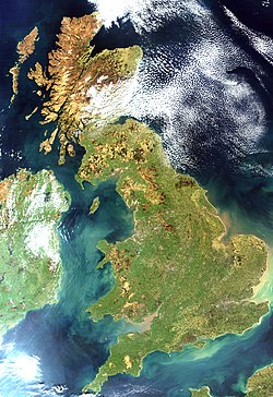True colour image of Great Britain, captured by a NASA satellite on 6 April 2002.