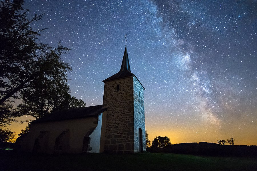 Savault Chapel in a clear starry night, in Ouroux-en-Morvan, Bourgogne, France.