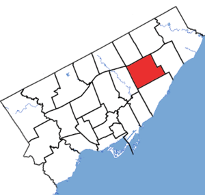 Scarborough Centre (electoral district) - Scarborough Centre in relation to the other Toronto ridings (2015 boundaries)