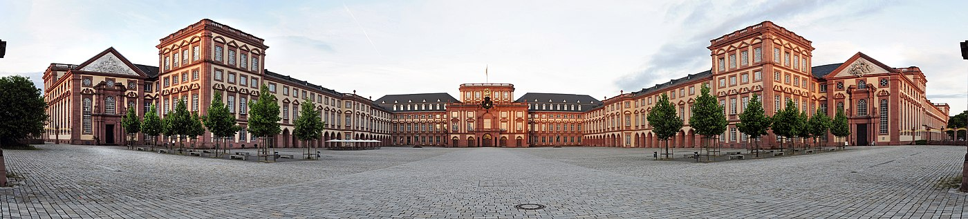 The University of Mannheim's main campus – the Palace in a 180-degree panoramic view SchlossMannheim-Pano-130616.jpg