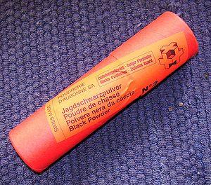 Gun laws in Switzerland - A Swiss 100 gram black powder container.