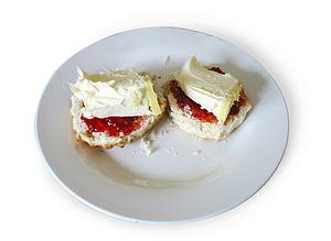 Scones are also commonly served with jam and c...