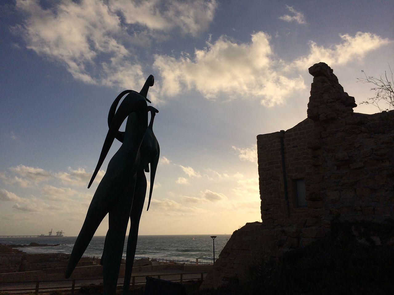 File:Sculpture facing the sea, Caesarea.JPG