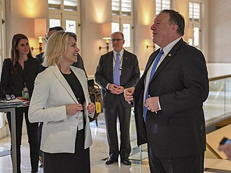 Heather Nauert - Nauert speaking with Mike Pompeo at the Singapore Summit on June 12, 2018.