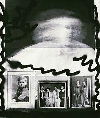"Victor Sloan - ""Self-Portrait"", silver gelatin print, with coloured pencils, 60 cm x 50 cm, 1993"
