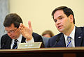 Sen. Marco Rubio, right, ranking member of the Senate Commerce, Science and Transportation Subcommittee on Oceans, Atmosphere, Fisheries and the Coast Guard, speaks during the testimony of U.S. Coast Guard Adm 130423-G-ZX620-019.jpg