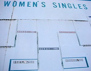 Tennis at the 1988 Summer Olympics - A scoreboard that still remained in 2006, that documents the Women's Singles draw.