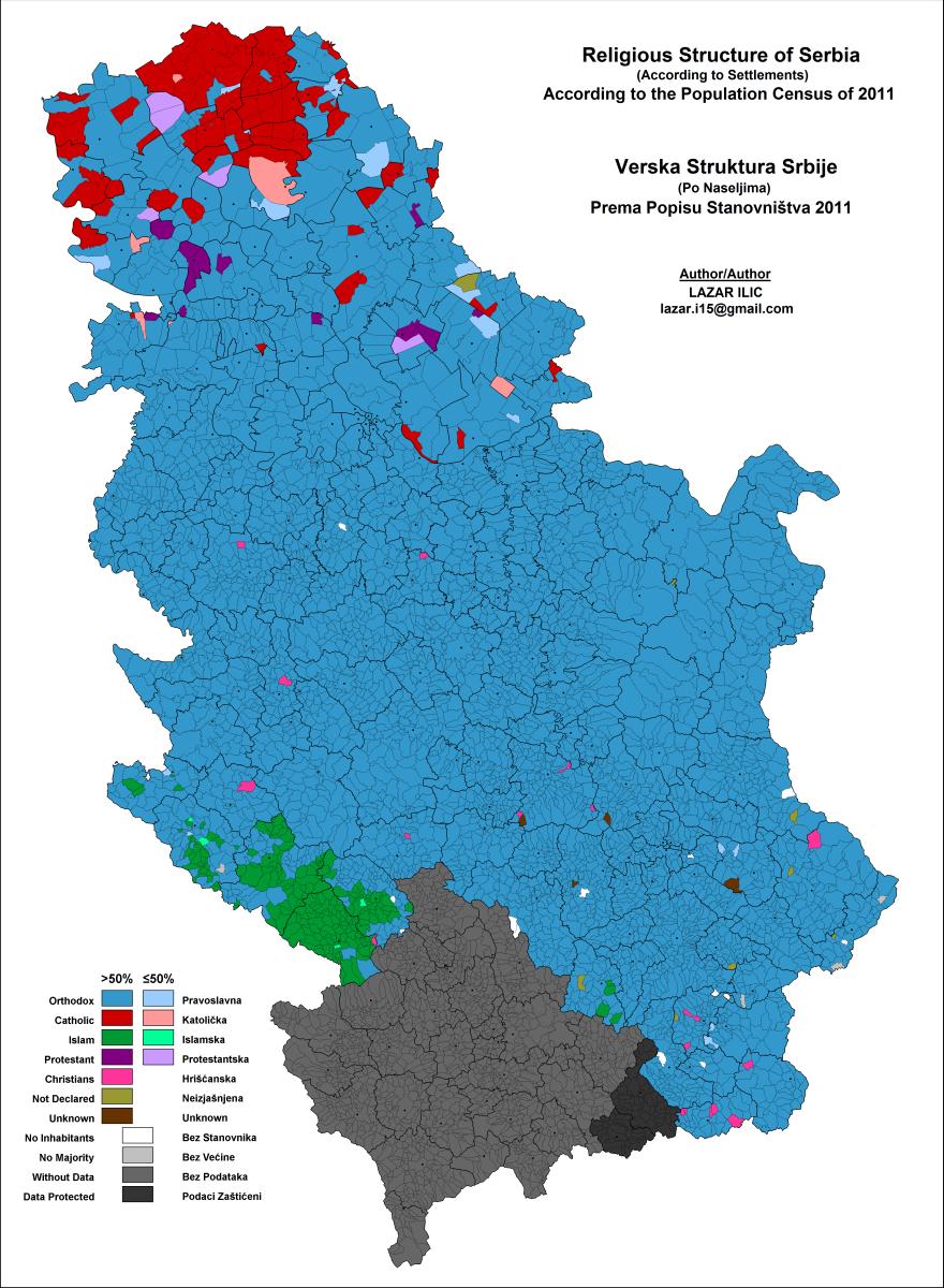 Serbia Religion Map 2011