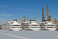 Sergey Dyagilev and Maxim Litvinov and Mikhail Sholokhov in Winter at Moscow North River Port Stern View 10-feb-2015.jpg