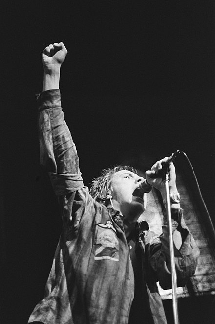 Johnny Rotten on stage in Paradiso, Amsterdam, January 1977 Sex Pistols in Paradiso - Johnny Rotten 2.jpg