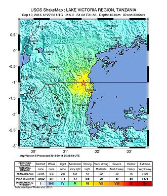 2016 Tanzania earthquake - USGS shakemap for the event