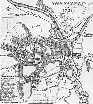 "St Paul's Church, Sheffield - Map of Sheffield in 1736. St Paul's is numbered ""2"", towards the south west of the map."