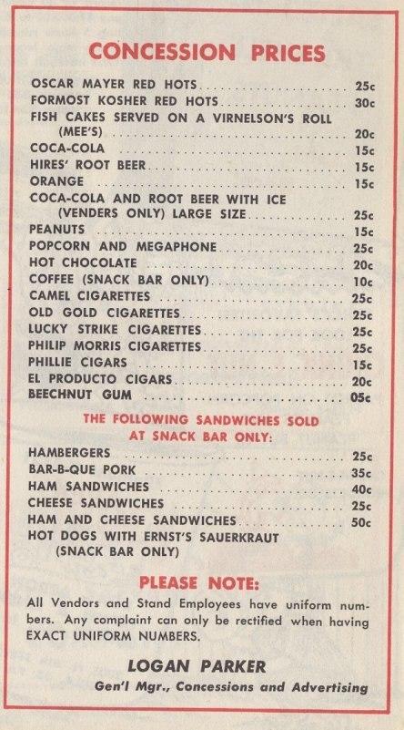 Shibe Park 1954 concession prices