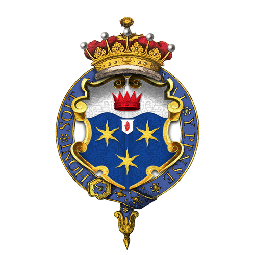 Garter encircled shield of arms of Frederick Sleigh Roberts, 1st Earl Roberts, as displayed on his Order of the Garter stall plate in St. George's Chapel. Shield of arms of Frederick Sleigh Roberts, 1st Earl Roberts, KVC, KG, KP, GCB, OM, GCSI, GCIE, KStJ, VD, PC.png