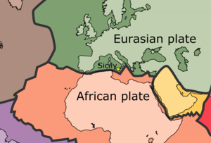 Geology of Sicily - Map of tectonic plates of Sicily. Yellow star labels the location of Sicily.