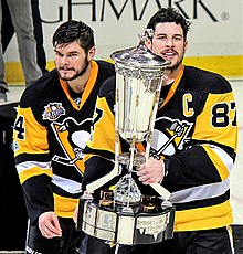 Photograph of Sidney Crosby and Chris Kunitz with Prince of Wales Trophy