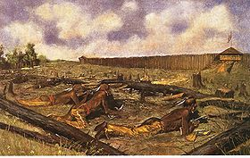 Le siège de Fort Détroit en 1763 illustré par Frederic Remington.