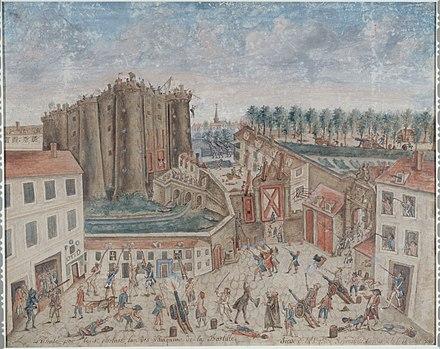 クロード・ショラによるバスティーユの包囲の目撃者の絵[A]
