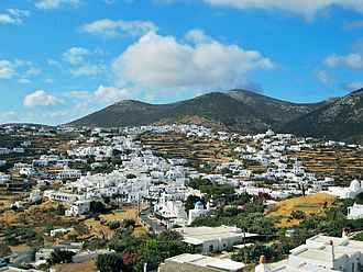 Sifnos - Villages of Apollonia and Katavathi seen from Ano Petali