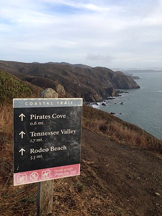 California Coastal Trail - Sign on the California Coastal Trail South of Muir Beach
