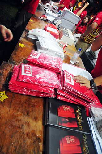 2011 Singaporean general election - Merchandise sold during the political rally by the Singapore Democratic Party in Bukit Panjang on 3 May