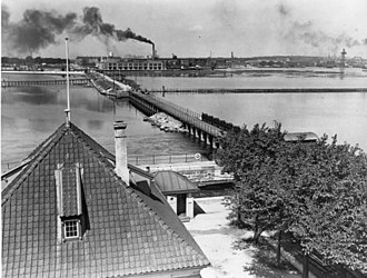 Sluseholmen - Sluseholmen viewed from the Lock House in the 1930s