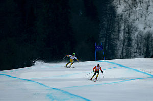 Australia at the 2014 Winter Paralympics - Melissa Perrine and her guide Andy Bor in the Women's Downhill at the 2014 Winter Paralympics