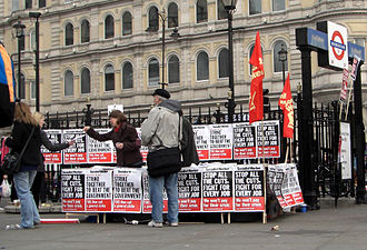 Socialist Workers Party (UK) - A stall run by the SWP in Trafalgar Square at the 2011 anti-cuts protest in London