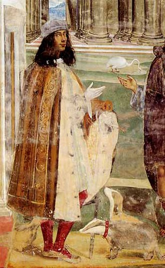 Il Sodoma - Self-portrait with badgers in a fresco at Monte Oliveto