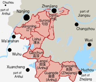 Southern Jiangsu Campaign - Showing counties or districts taken by the communist forces in Southern Jiangsu and parts of Anhui and Zhejiang in August 1945.
