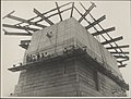 Southern pylon of the Harbour Bridge being washed, 1932 (8283749952).jpg