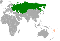 Map indicating locations of Soviet Union and Vanuatu